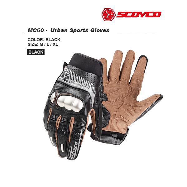 SCOYCO(スコイコ) MC60 アーバンスポーツグローブ[ブラック/XLサイズ] MC60-BK-XL