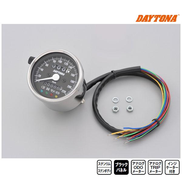 デイトナ 機械式スピードメーター φ60 ホワイトLED照明 220km/h インジケーター付き[ステンレスボディ/ブラックパネル] 15638