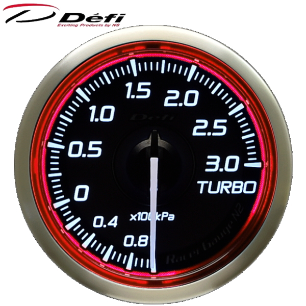 Defi Racer Gauge N2 52φ赤レッドターボ計 ブースト計 -100kPa~+300kPa