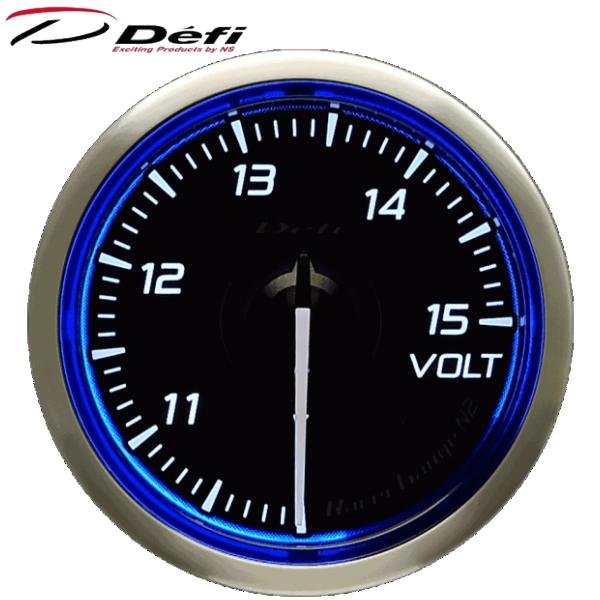 Defi Racer Gauge N2 52φ青ブルー電圧計 10~15V