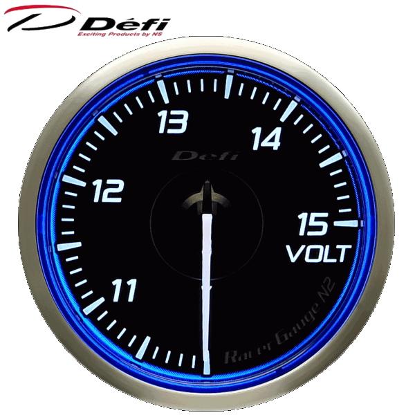 Defi Racer Gauge N2 60φ青ブルー電圧計 10~15V