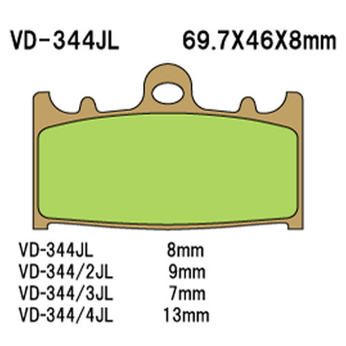 秀逸 ふるさと割 - 取寄 VD-344SRJL8 VD-344SRJL 8 シンタードメタルレーシングパッド 1セット べスラ Vesrah