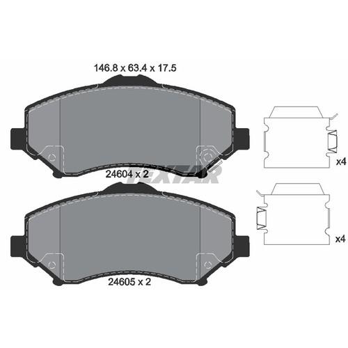 取寄 2460402 2460402 ブレーキパッド Textar 1セット(4枚入)