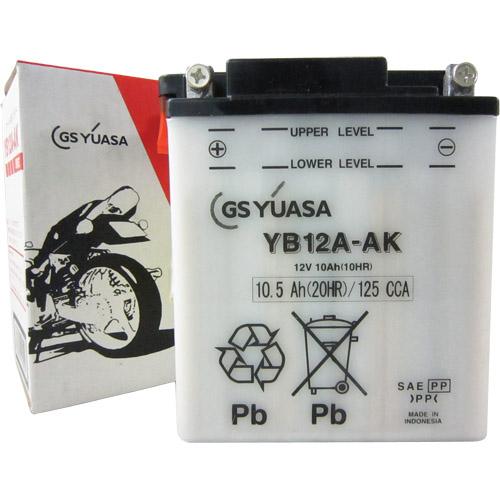 YB12A-AK GSユアサ 液別タイプ(開放型) バッテリー FX400R/GPZ400/Z400GP/ZX-4/ZXR400対応