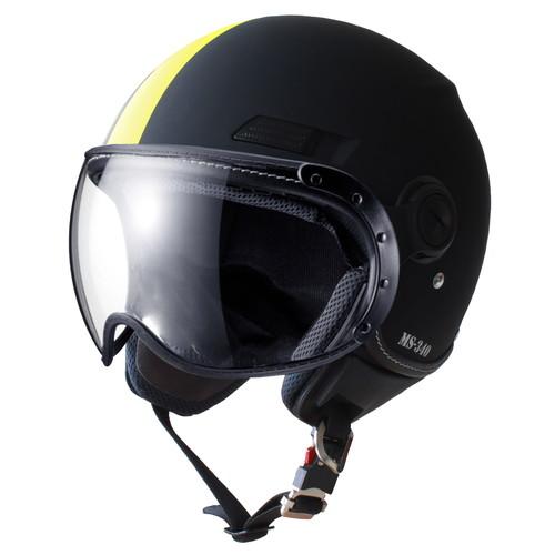 物品 - マルシン バイク ジェットヘルメット MS-340 340A6M M イエロー アシンメトリック 低価格化