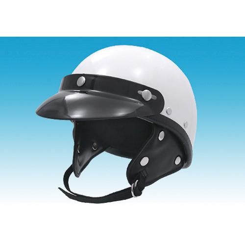 ハーフタイプ 9820-WH ポリスタイプヘルメット ホワイトラウンドバイザー付 EASYRIDERS(イージーライダース) 1個