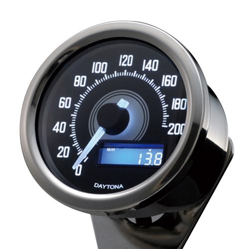 デイトナ VELONAスピードメーター 200km/h バフボディー ブラックP/ホワイトLED メーカー品番:92248 1個