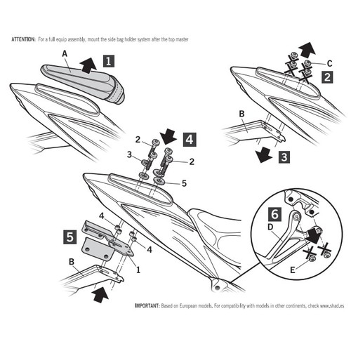 S0GS77ST トップマスターフィッティングキット GSX750S'17 SHAD(シャッド) 1セット