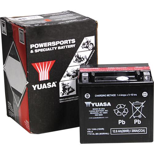 使い勝手の良い 液別タイプになります 使用前に電解液を注入して使用します YTX14L-BS YUASA 液別MFバッテリー 未使用品