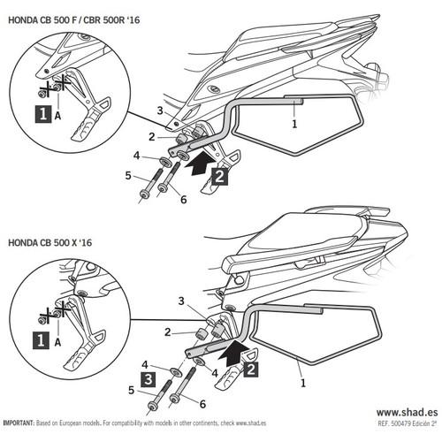 H0CX56SE サイドバッグホルダーCB400X(2019)/CB500F/CBR500R/CB500X(16-19・欧州仕様) SHAD(シャッド) 1セット