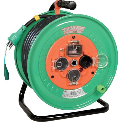 取寄 NW-EK33 電工ドラム 防雨防塵型100Vドラム アース過負荷漏電遮断器付 30m 日動工業 電線色:黒/側板色:エメラルドグリーン 1台