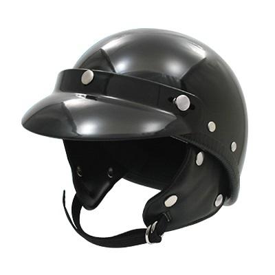 取寄 ジェットタイプ 9820-BK ポリスタイプヘルメット ブラックラウンドバイザー付 EASYRIDERS(イージーライダース) ブラック 1個