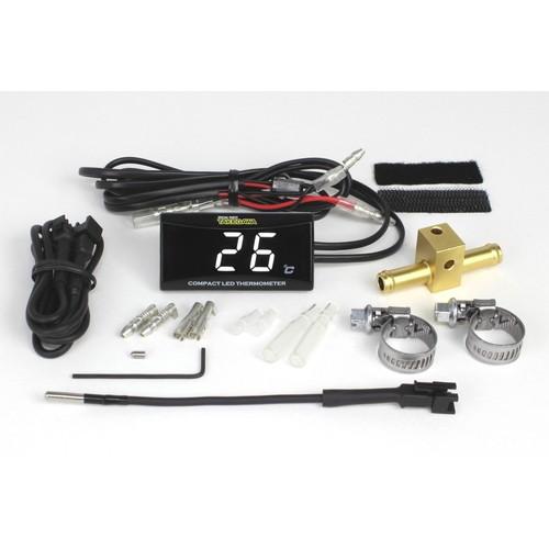 - 取寄 05-07-0008 コンパクト LED サーモメーター 油温計アダプターφ8付きセット (ホワ