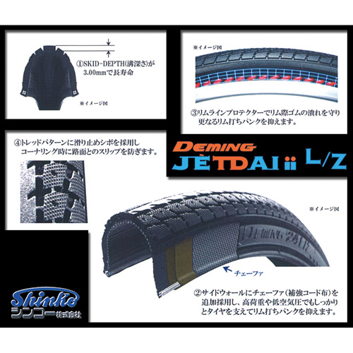 SHINKO(シンコー) 自転車タイヤ SR187 DEMING L/Z 24×1 3/8 タイヤのみ 1本【あす楽対応】