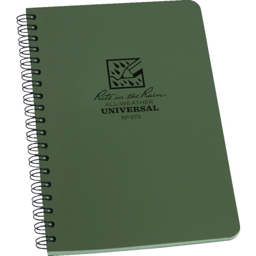 新作通販 - 取寄 ユニバーサル 32枚 973 4 5 8x7 1冊 RITR グリーン ライトインザレイン 送料無料でお届けします グリーンインク グリーン地 スパイラルノートブック