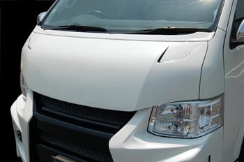 【ブレス】ハイエース 200系 ワイドボディ クールフェイスボンネット 塗装済 209:ブラックマイカ