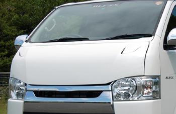 ボンネットフード【ブレス】ハイエース 200系 標準ボディ クールフェイスボンネット 塗装済 2JZ:ノーブルパールトレーニング2