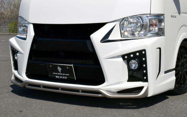 フロントバンパー【ブレス】ハイエース 200系 4型 ワイドボディ エルモードバンパー/デイライトキット16発LED(Dタイプ) 塗装済 209ブラックマイカ