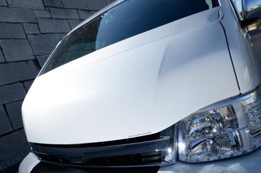 ボンネットフード【ギブソン】ハイエース 200系 1-4型 ワイドボディ ミドル GRAFAM EURO ボンネット 塗装済 (070) ホワイトパール