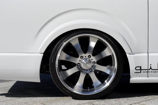 オーバーフェンダー / トリム【ギブソン】ハイエース 200系 1-4型 ワイドボディ ミドル ブラインドフェンダー ver.2 (フロント/リア) 塗装済 (1E7) シルバーマイカメタリック