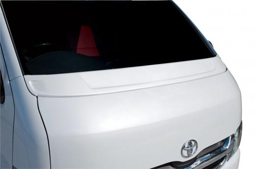 ボンネットスポイラー【ギブソン】ハイエース 200系 1-4型 標準ボディ ワイパーガーニッシュ 塗装済 (1E7) シルバーマイカメタリック 塗分け無