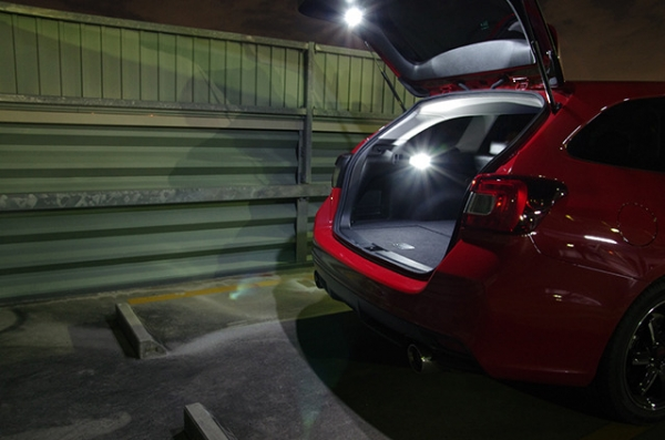 【シャイニングスピード】LEDカスタムラゲッジランプ【VM】レヴォーグ (スイッチ有り【青】 、右(運転席側)、有り(カプラーオン仕様) )
