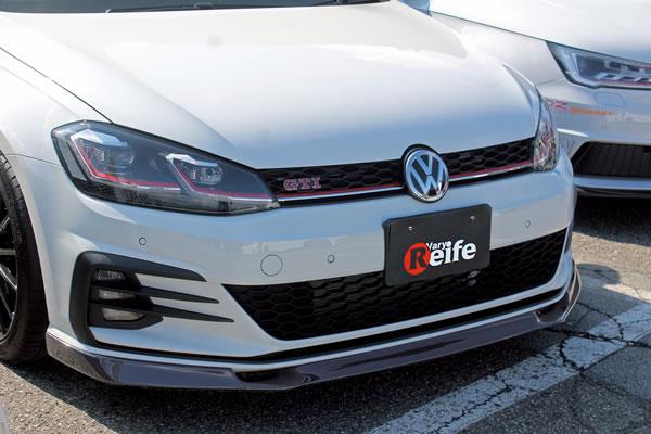 フォルクスワーゲン ゴルフ 7 VW GOLF VII   フロントリップ【ガレージベリー】GOLF 7.5 GTI フロントリップスポイラー 綾織カーボン製