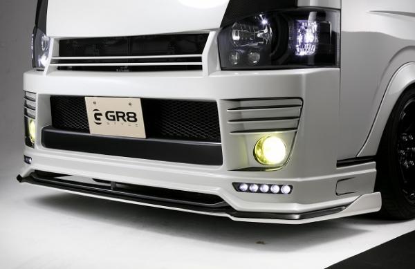 200 ハイエース | フロントバンパー【GR8スタイル】ハイエース 200系 4型 ナローフロントバンパースポイラー +LEDスポットライト&フリッパーセット