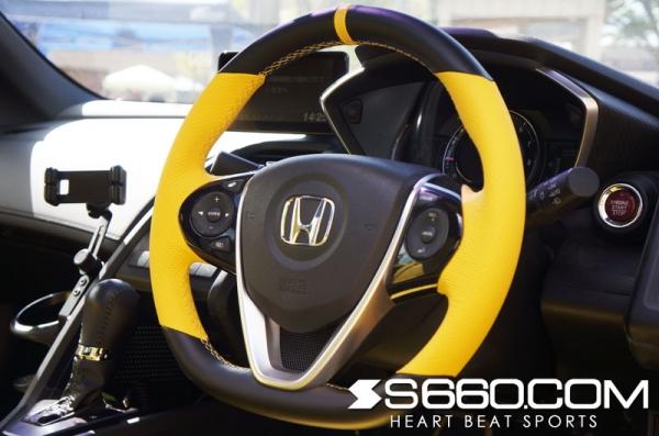 S660 | ステアリング【S660コム】S660 本革カラードステアリング パンチングレザーグリップ グレー