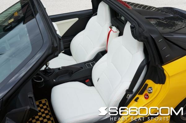 S660 | シートカバー【S660コム】S660 SPIDER スポーツレザーシートカバー / 生地 ホワイト / ステッチ ホワイト