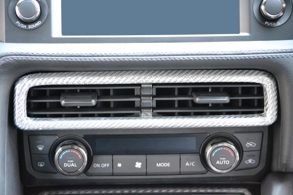 GT-R R35 | インテリアパネル【アールエスダブリュ】GT-R R35 MY17 センターベンチレーターパネル シルバーカーボン製 (クリア塗装仕上げ)