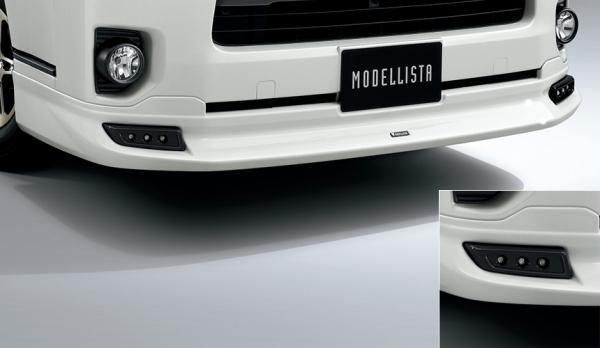 200 ハイエース | エアロセット (その他)【トヨタモデリスタ】ハイエース 200系 4型 スーパーGL/DX GLパッケージ 標準ボディ MODELLISTA Version 1 クールフェイスキット (デイライト) ブラックマイカ