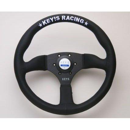 ステアリング   ステアリング【エーティーシー】KEY'S RACING SEMI DEEP MODEL SEMI DEEP350mm黒革