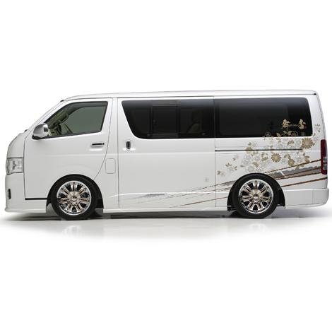 200 ハイエース | サイドステップ【カズキオート】ハイエース 200系 3型 標準ボディ Urban Style サイドステップ ロング5Dr用 塗装済品 ブラックマイカ (209)