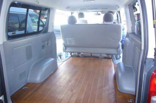 200 ハイエース | フロアマット【ネル海】ハイエース 200系 スーパーGL 標準ボディ用 フロアーシート 荷室のみ (リアフロアー2列目シート手前まで) チェック 4型 (パワースライドドア設定有り)用