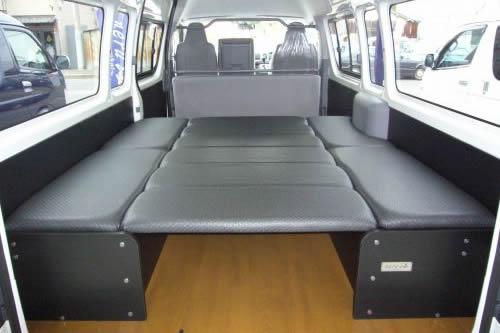 200 ハイエース ワイド | ベットキット【ネル海】ハイエース 200系 1-3型 バン ワイドボディ DX スーパーロング (リアヒーター無車) 車中泊 ベッドキット 10枚式 波道-9 マットカラー:ブラック