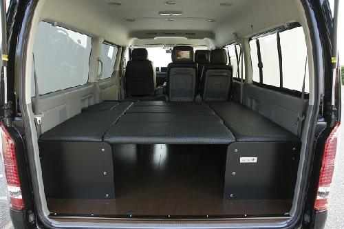 200 ハイエース ワイド | ベットキット【ネル海】ハイエース 200系 ワゴン 3型 (H24年7月以降) ワイドボディ GL 10人乗り 7枚式ベッドキット 波道-11&床板パネル(スーパーダーク)セット マットカラー:ヴィンテージブラック