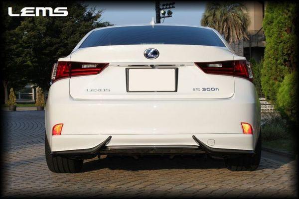 LEXUS IS 30 | リアバンパーカバー / リアハーフ【レムス】LEXUS IS300h ドライカーボン リアアンダーディフューザー 3ピース+1フルセット メーカークリア塗装&リア塗分け塗装カラーNO:1H9