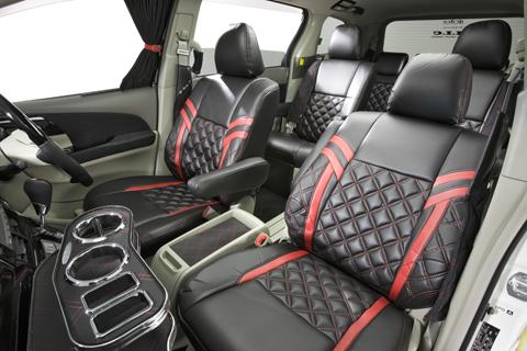 L455S タントエグゼ | シートカバー【エムアイシー】タントエグゼ L455/465 シートカバー ラグジュアリー ダイヤキルト Bラインレザー アームレスト フロント:1 リア:1 運転席シートリフター有り
