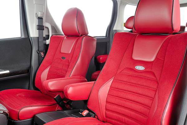 L455S タントエグゼ   シートカバー【エムアイシー】タントエグゼ L455/465 シートカバー EXエディション ラムースxAラインレザー アームレスト フロント:1 リア:1 運転席シートリフター有り