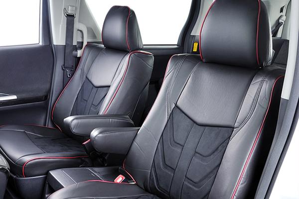 L455S タントエグゼ | シートカバー【エムアイシー】タントエグゼ L455/465 シートカバー 3Dエディション ラムースxAラインレザー アームレスト フロント:1 リア:0 運転席シートリフター有り