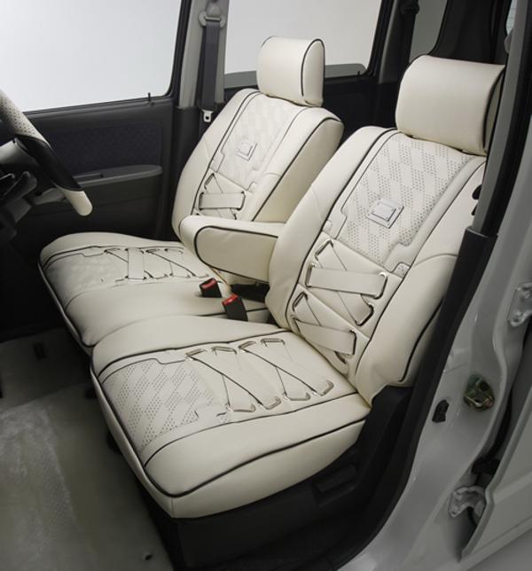 L455S タントエグゼ | シートカバー【エムアイシー】タントエグゼ L455/465 シートカバー ビジュー ブロン ホワイト アームレスト フロント:1 リア:0 運転席シートリフター無し