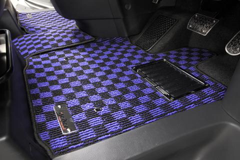 E120 カローラランクス | フロアマット【エムアイシー】カローラランクス 120系 フロアマット チェック 4WD フットレスト有り車 ヒールパット無し