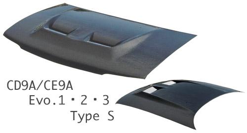 ランサーエボ 1 2 3 | ボンネット ( フード )【スタウト】CD9A/CE9A ランエボ Evo.1・2・3 エアロボンネット TypeS カーボン (平織/綾織別途オプション)