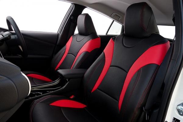 50 プリウス | シートカバー【オートウェア】プリウス 50系 シートカバー 専用モデル 2列肘 有 カラー:ブラック + 赤色
