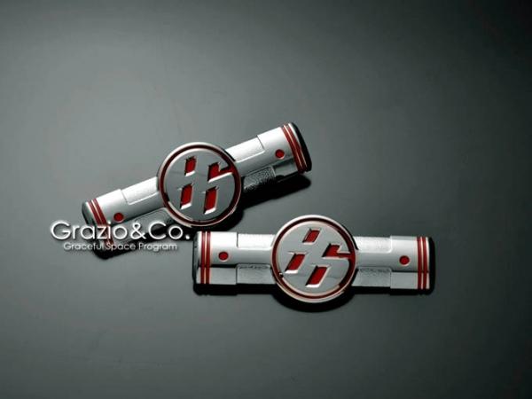 86 - ハチロク -   オーナメント / エンブレム【グラージオ】86 ZN6 ソリッドカラーエンブレム フェンダーエンブレムセット ソリッドカラー マットホワイト (ブラック ベース)