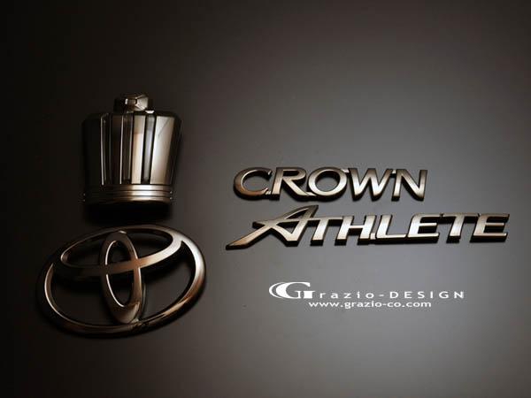 20 クラウンロイヤル | オーナメント / エンブレム【グラージオ】クラウン 20 ROYAL SALOON Emblem ブラック クロ-ム エンブレム王冠5点セット i-Four