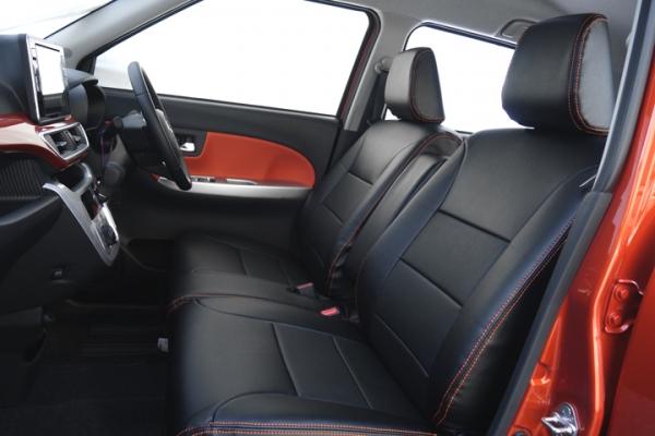 キャスト LA250S   シートカバー【オートウェア】キャスト LA250系 シートカバー 専用モデル カラー:ブラック / オレンジステッチ