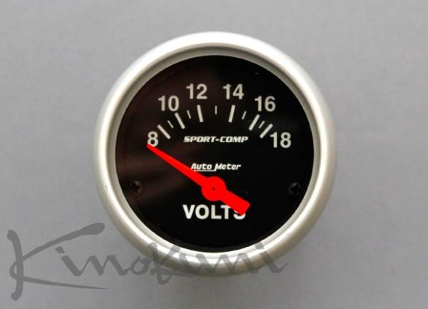 【★送料無料】 【キノクニ】52φ機械式 電圧計 ブラックパネル(3391-K、電圧計*Volt/電52φ BP/WS)
