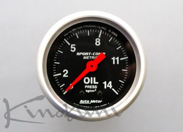 【★送料無料】 【キノクニ】52φ機械式 油圧計 ブラックパネル(3322-K、油圧計/機52φ BP/WS)